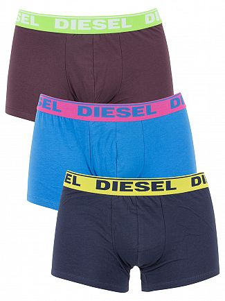 Diesel Navy/Blue/Burgundy 3 Pack Shawn Fresh & Bright Trunks