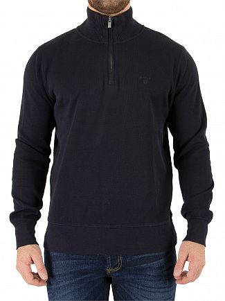 Gant Navy Sacker Rib Half Zip Knit