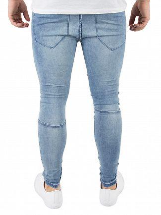 Sik Silk Stonewash Extreme Biker Skinny Jeans