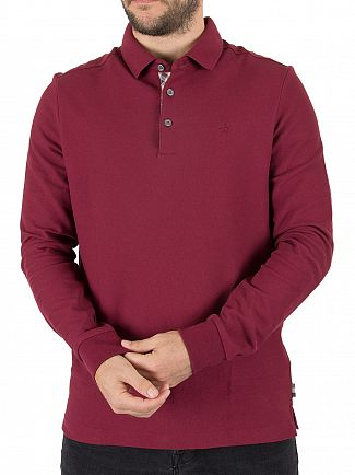 Aquascutum Bordeaux Hillington Longsleeved CC Placket Polo Shirt