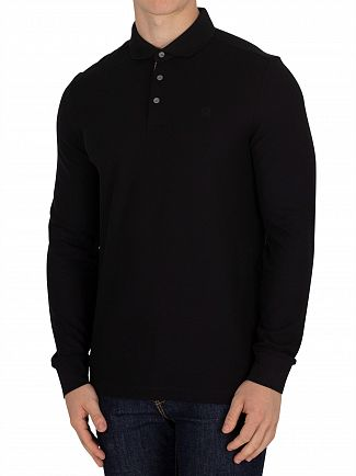 Aquascutum Black Hillington Longsleeved CC Placket Polo Shirt