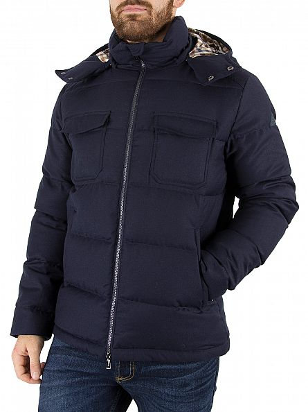 Aquascutum Navy Orson Down Filled Coat Jacket
