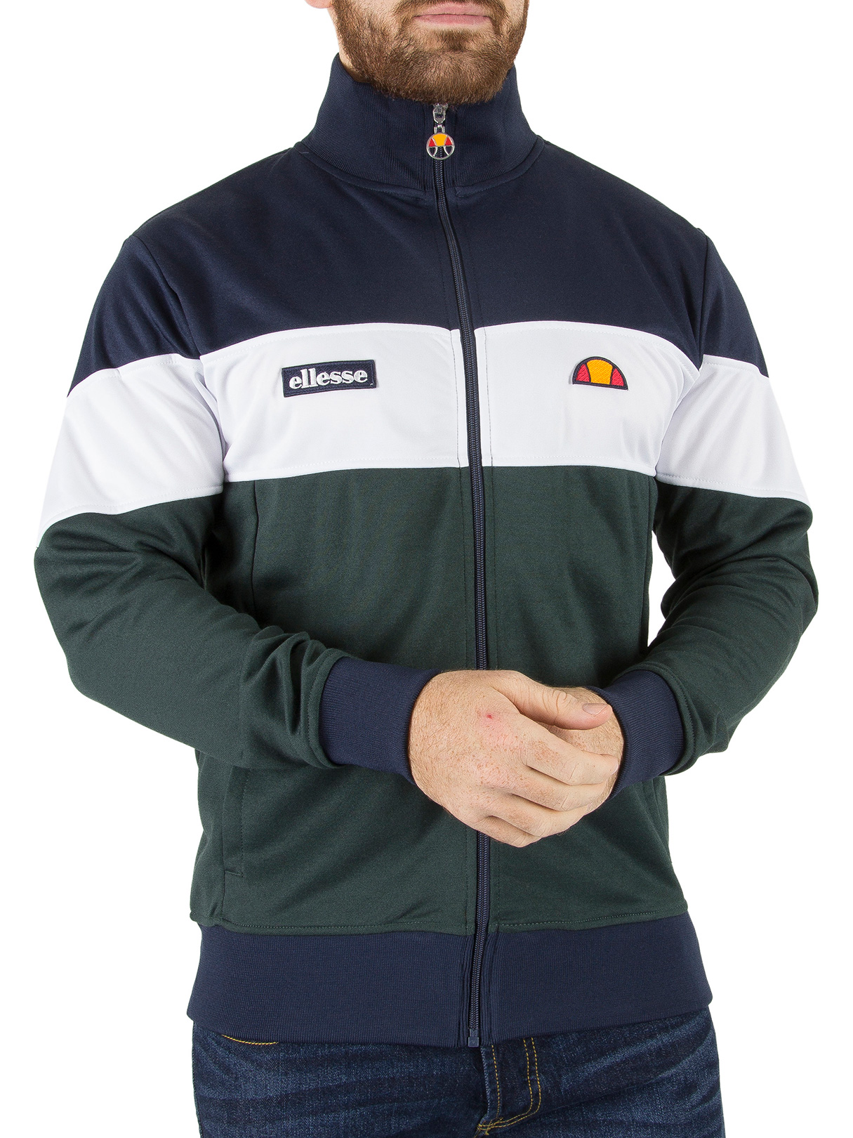 ellesse herren caprini panel tracktop jacke blau ebay. Black Bedroom Furniture Sets. Home Design Ideas