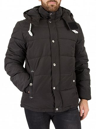 Jack & Jones Black Figure Puffa Jacket