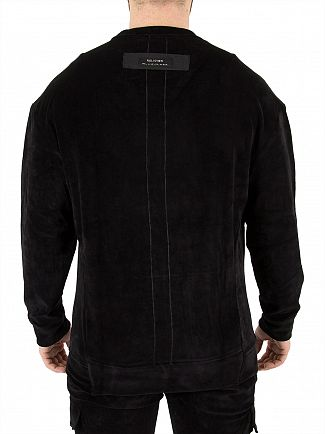 Religion Washed Black Valiant Suede Sweatshirt