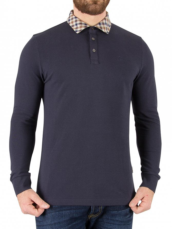 Aquascutum Navy Nathan Longsleeved Polo Shirt
