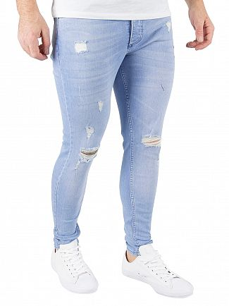 Gym King Bright Blue Spray On Distressed Denim Jeans