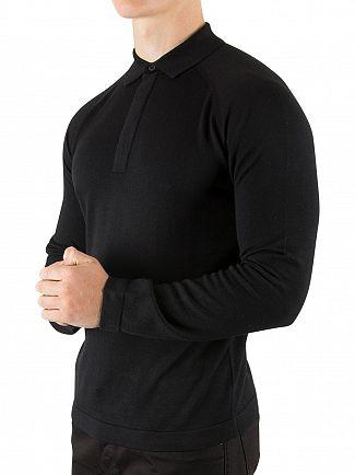 J Lindeberg Black File Longsleeved Silk Polo Shirt