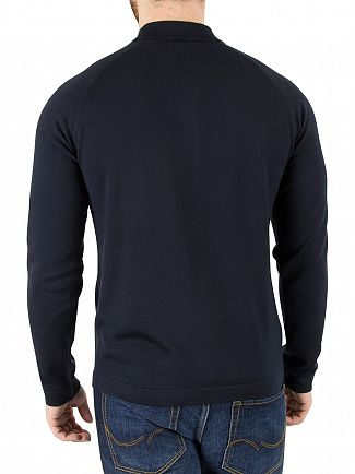 J Lindeberg Navy File Longsleeved Silk Polo Shirt