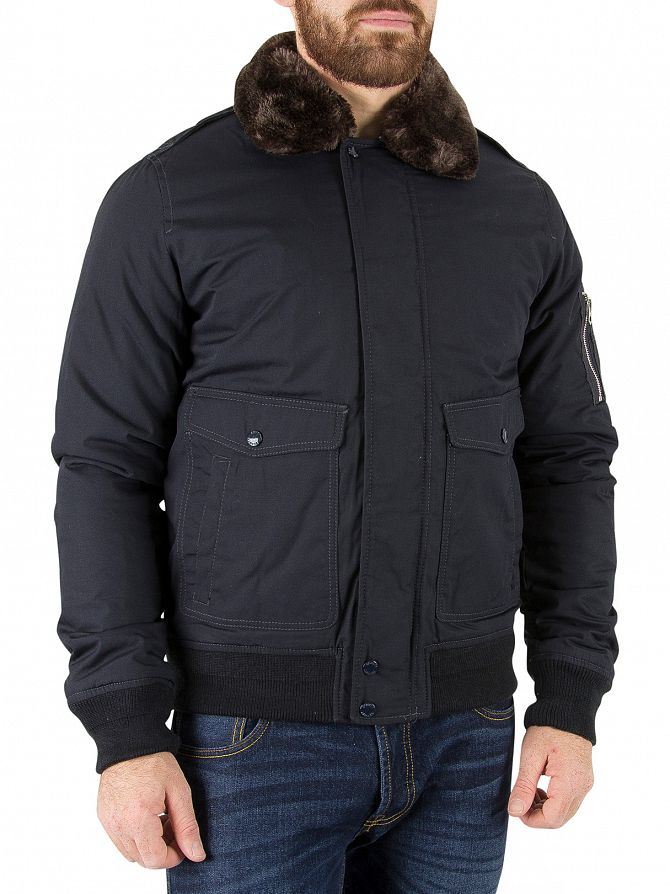 Schott Navy Air Fur Collar Bomber Jacket | Stand-Out