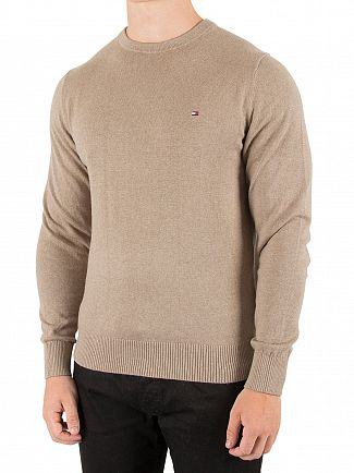 Tommy Hilfiger Fossil Heather Pima Logo Knit