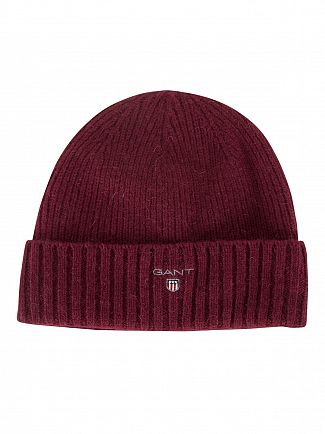 GANT PURPLE WINE RIBBED LOGO BEANIE