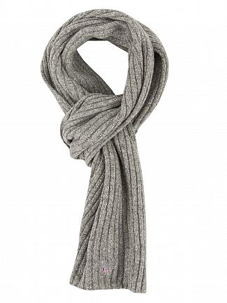 GANT DARK GREY MELANGE RIBBED LOGO SCARF