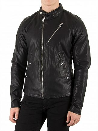 G-STAR BLACK EMPRAL DC 3D BIKER JACKET