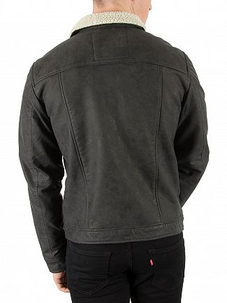 Jack & Jones Black Rob Fur Collar Jacket