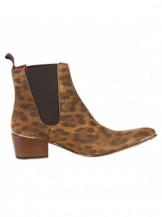 Jeffery West Animal Print Tan/Dark Brown Chelsea Boots