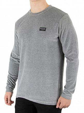 Nicce London Grey Velour Longsleeved T-Shirt