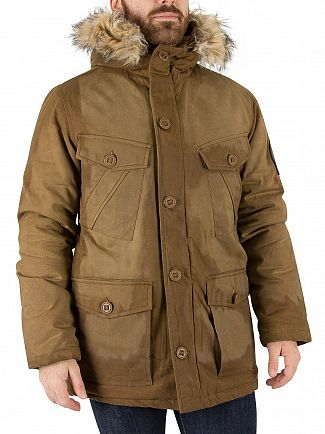 Superdry Tobacco Everest Wax Parka Jacket