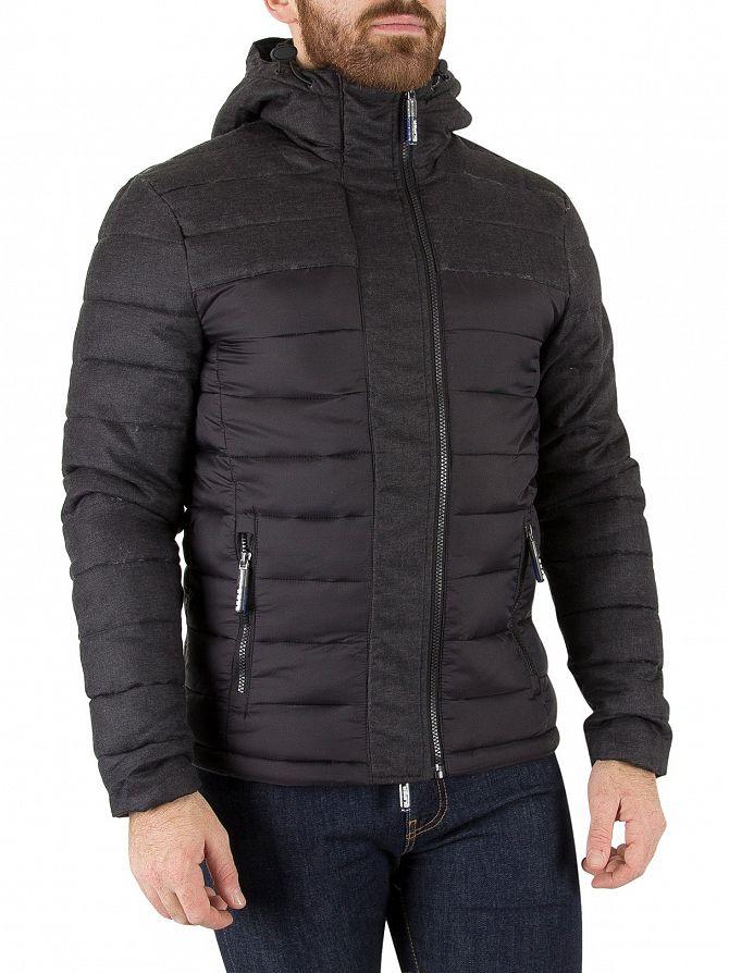 Superdry Black Herringbone Fuji Mix Double Zip Jacket