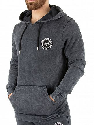 Hype Grey Acid Wash Crest Pullover Hoodie