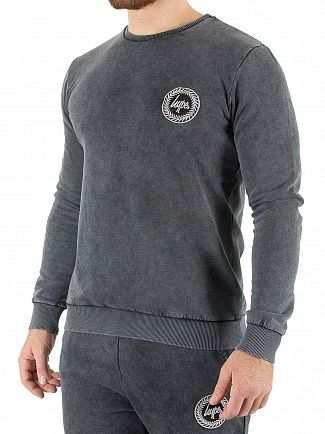 Hype Grey Acid Wash Crest Sweatshirt