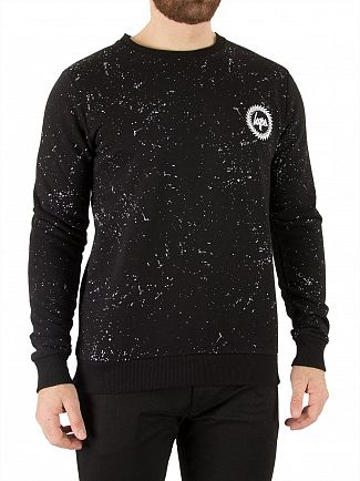 Hype Black/White Crest Speckle Sweatshirt