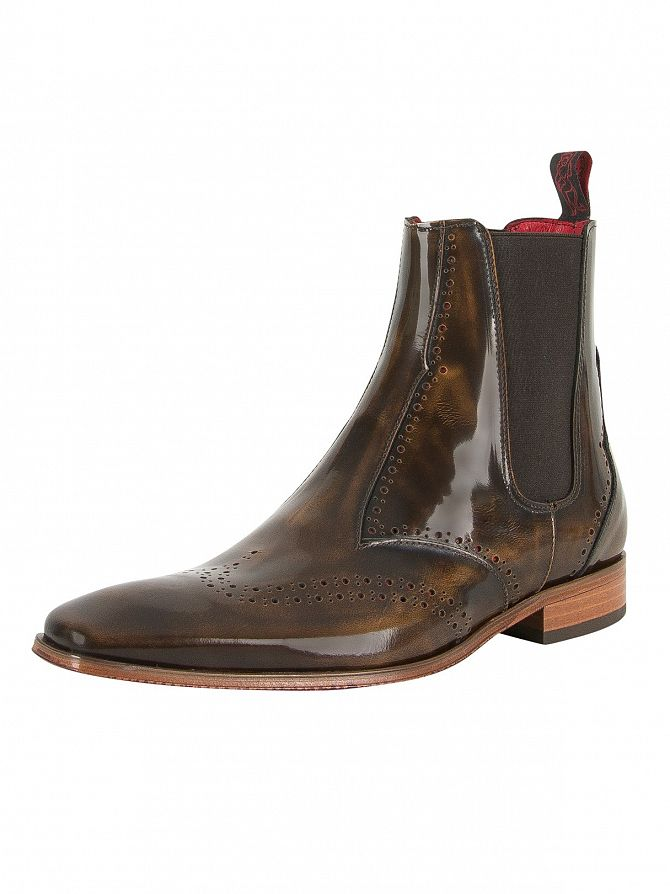 Jeffery West College Camel/Charcoal Red Scarface Polished Shoes