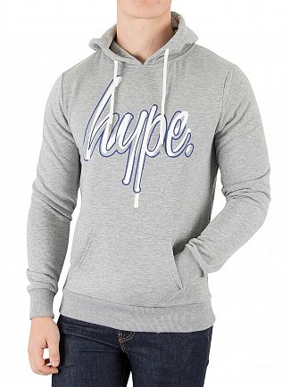 Hype Grey/Blue Overlay Pullover Hoodie