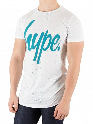 Hype White/Teal Speckle Script T-Shirt