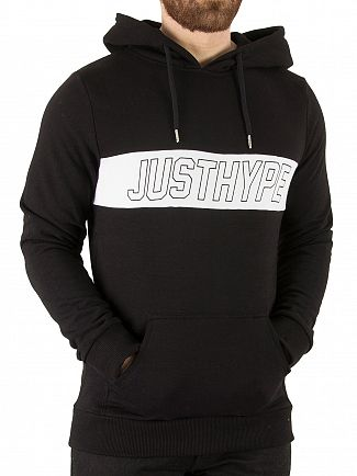 Hype Black/White Sports Panel Pullover Hoodie