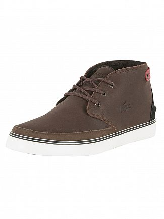 Lacoste Dark Brown Clavel 17 SRM Leather Trainers