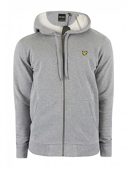 Lyle & Scott Mid Grey Marl Zip Logo Marled Hoodie