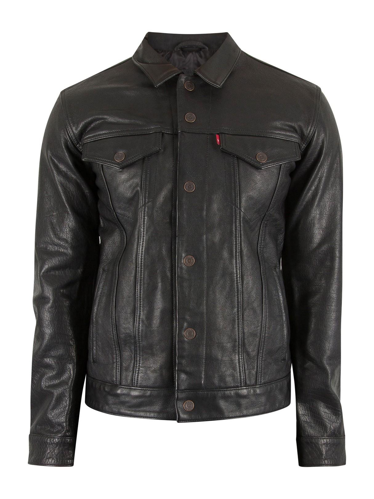 Levi's Men's Buffalo Leather Trucker Jacket, Black
