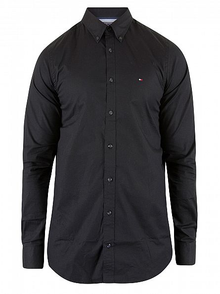 Tommy Hilfiger Flag Black Slim Fit Poplin Longsleeved Logo Shirt