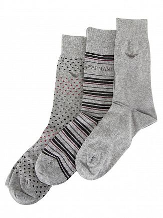 EMPORIO ARMANI MELANGE PALE GREY 3 PACK CALZA FANTASIA SOCKS SET
