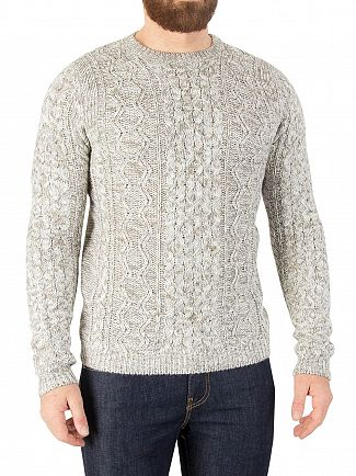ONLY & SONS CLOUD DANCER HEATHER CABLE KNIT