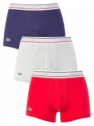 Lacoste Navy/Grey/Red 3 Pack Cotton Stretch Trunks