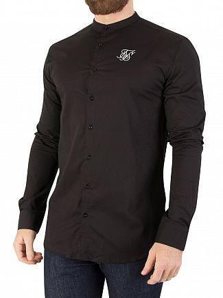 Sik Silk Jet Black Oxford Stretch Fit Shirt