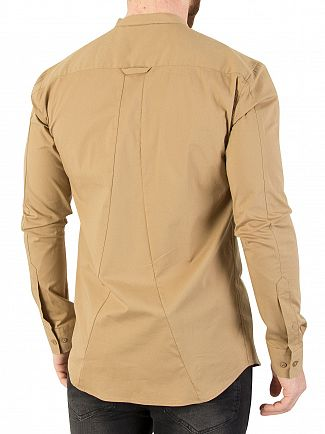 Sik Silk Beige Oxford Stretch Fit Shirt