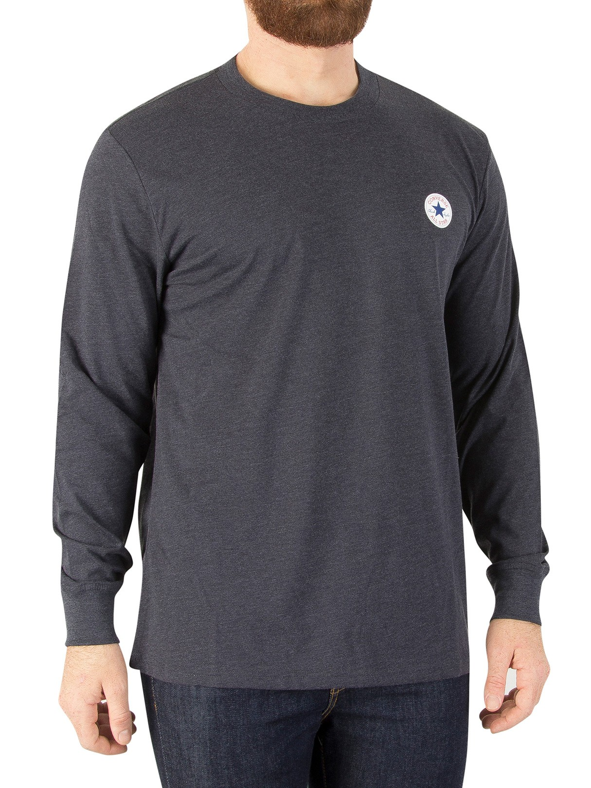 Stand-out.net Converse Dark Obsidian Heather Longsleeved Badge T-Shirt