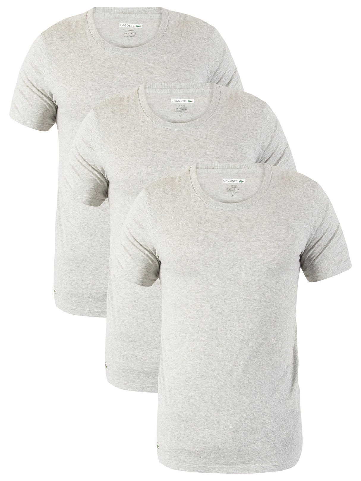 e5103469 Lacoste Grey Melange 3 Pack Slim Fit T-Shirts