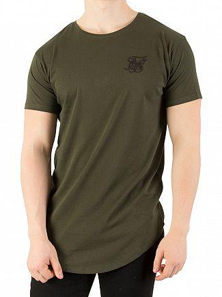 Sik Silk Khaki Curved Hem Colours T-Shirt