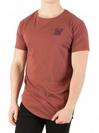 Sik Silk Burgundy Curved Hem Colours T-Shirt
