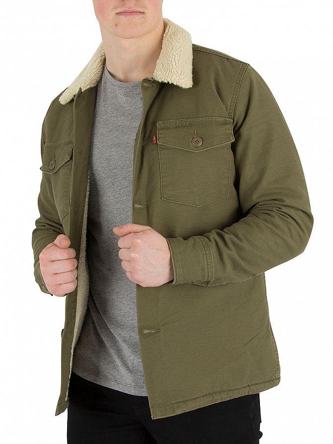 levi 39 s olive night military sherpa jacket standout. Black Bedroom Furniture Sets. Home Design Ideas