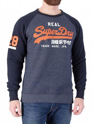 Superdry Davenport Navy Vintage Duo Raglan Sweatshirt