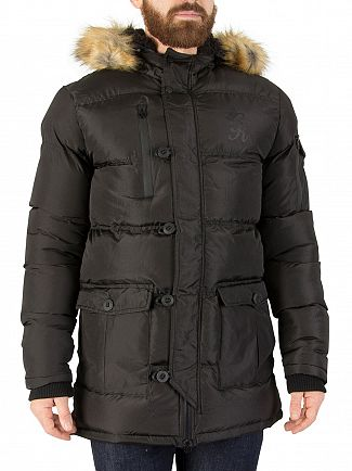 Gym King Black Fur Parka Jacket