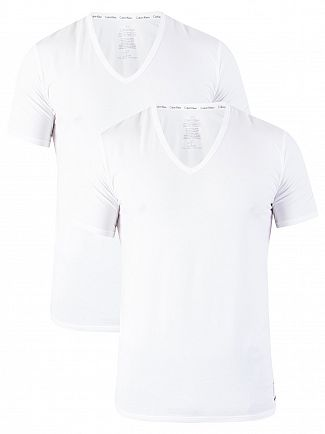 Calvin Klein White 2 Pack ID V-Neck Slim T-Shirts