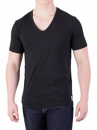 Calvin Klein Black 2 Pack ID V-Neck Slim T-Shirts