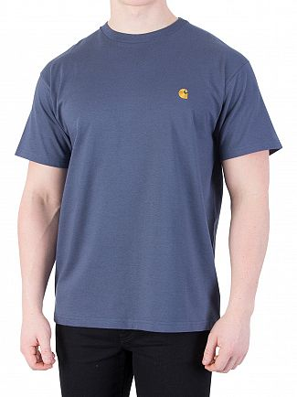 Carhartt WIP Stone Blue/Gold Chase T-Shirt