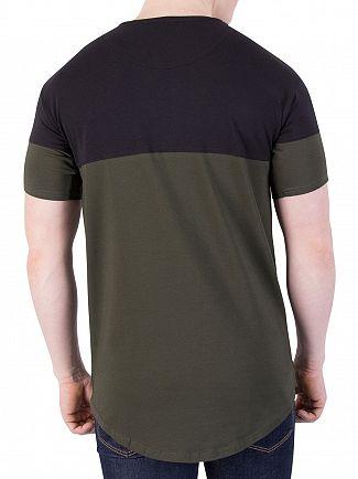 Sik Silk Khaki/Black Cut & Sew T-Shirt